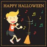 Danse de garçon avec la fleur en partie de Halloween Photos stock