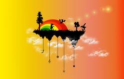 Danse de HIP-HOP sur une île d'arc-en-ciel illustration libre de droits