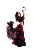 Danse de jeune femme dans la poupée avec le tambourine Images libres de droits