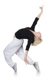 Danse de l'adolescence hip-hop de fille au-dessus du fond blanc Image stock