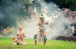 Danse de la Thaïlande de culture d'art dans le khon masqué dans le ramayana de littérature, singe classique thaïlandais masqué, K image stock
