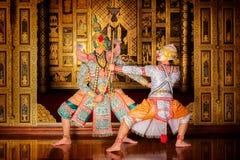 Danse de la Tha?lande de culture d'art dans le khon masqu? dans le ramayana de litt?rature, singe classique tha?landais masqu?, K image stock
