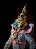 Danse de la Tha?lande de culture d'art dans le khon masqu? dans le ramayana de litt?rature, singe classique tha?landais masqu?, K image libre de droits