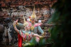 Danse de la Tha?lande de culture d'art dans le khon masqu? dans le ramayana de litt?rature, singe classique tha?landais masqu?, K images libres de droits