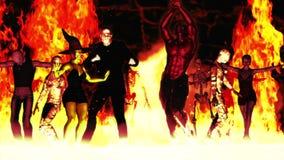 Danse 2 de partie de monstre (dans l'enfer) illustration de vecteur