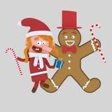 Danse de petite fille avec le biscuit de Noël 3d illustration stock
