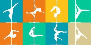 Danse de poteau de style et icônes plates de forme physique de poteau Silhouettes de vecteur des danseurs féminins de poteau illustration stock