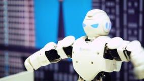 Danse de robot de humanoïde Fermez-vous de l'exposition futée de danse de robot Représentation de robot de danse Soirée dansante