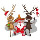 Danse de Santa Claus avec des cerfs communs Type de dessin animé Image stock