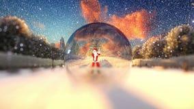 Danse de Santa Claus dans un globe en verre, neigeant illustration de vecteur