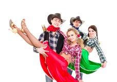 Danse de sourire de cowboys et de cow-girls Photo libre de droits