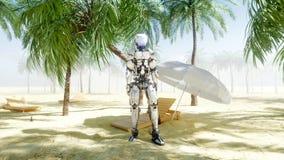 Danse drôle de robot sur le bord de la mer ensoleillé Concept de tourisme et de repos rendu 3d illustration stock