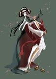 Danse du jeune geisha Images libres de droits