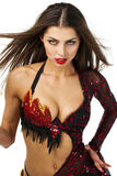 Danse espagnole traditionnelle de danseur de flamenco de femme dans une robe rouge Photo libre de droits
