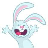 Danse et sauter bleus de caractère de lapin de bande dessinée mignonne Illustration de vecteur Photographie stock