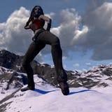 Danse femelle de bande dessinée avec des écouteurs sur un dessus de montagne Photographie stock