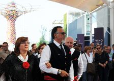 Danse folklorique sicilienne sur l'expo 2015 de site à Milan Photo stock