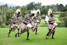 Danse folklorique traditionnelle africaine au safa du mont Kenya Photo stock