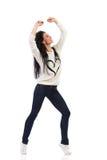 Danse heureuse de femme Photo stock