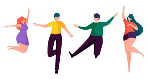 Danse heureuse de gens Personnages de dessin animé sans visage illustration de vecteur
