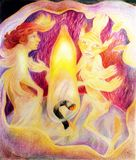 Danse à l'intérieur d'une bougie avec un esprit élémentaire du feu de lumière de bougie Photographie stock libre de droits