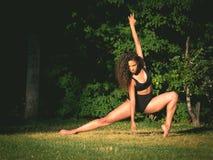 Danse latine de danseur sur l'herbe Image stock