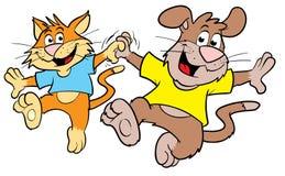 Danse mignonne de chat et de crabot de dessin animé Images stock