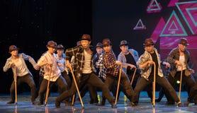 Danse moderne homme-chinoise danse-humoristique de béquille vieille Photographie stock