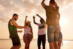 Danse multi-ethnique enthousiaste d'ami sur le littoral Photos libres de droits
