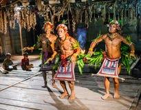 Danse rituelle de danse de tribu de Mentawai d'hommes Image libre de droits