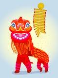 Danse rouge chinoise de lion avec le pétard illustration stock