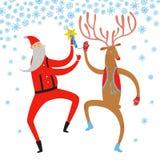 Danse Santa Claus et illustration de cerfs communs Photos stock