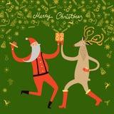 Danse Santa Claus et illustration de cerfs communs Image libre de droits