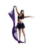 Danse sexy de femme avec le voile d'isolement Photo libre de droits
