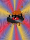 Danse sur l'enregistrement de vinyle avec l'arc-en-ciel Photo libre de droits