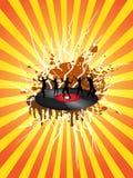 Danse sur l'enregistrement de vinyle avec le sunray Image libre de droits