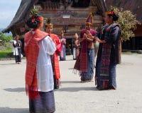 Danse traditionnelle de Batak image stock