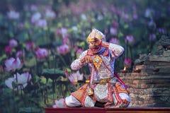 Danse traditionnelle de PantomimeKhonThai de la danse de Ramayana photo stock