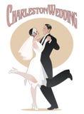 Danse Wedding Le couple élégant portant le style 20s vêtx la danse Photographie stock libre de droits