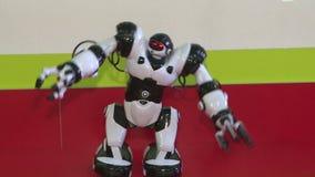 Dansen av en humanoid robot Dansshow Robotdansparti Smart robotteknologi stock video