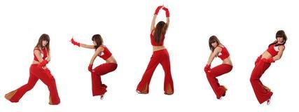 Dansen in een rood kostuum Stock Fotografie