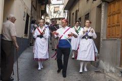 Dansen Las Italianas av Garganta La Olla, Caceres, Extremadur Arkivfoto