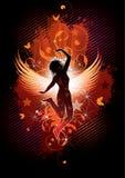 Dansend gevleugeld meisje Royalty-vrije Stock Afbeeldingen