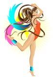 Dansend gymnastiekmeisje Royalty-vrije Stock Foto