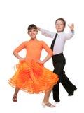 Dansend jongen en meisje Stock Foto