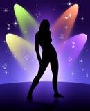 Dansend meisje en levende prestaties. Royalty-vrije Stock Afbeelding