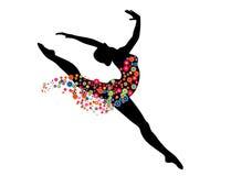 Dansend meisje met bloemenkleding Stock Foto