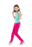 Dansend meisje met hoofdtelefoons Stock Afbeelding