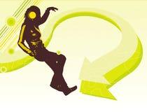 Dansend meisjessilhouet Stock Foto's