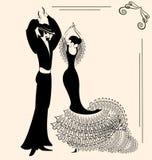 Dansend paar? dat op wit wordt geïsoleerdg Stock Fotografie